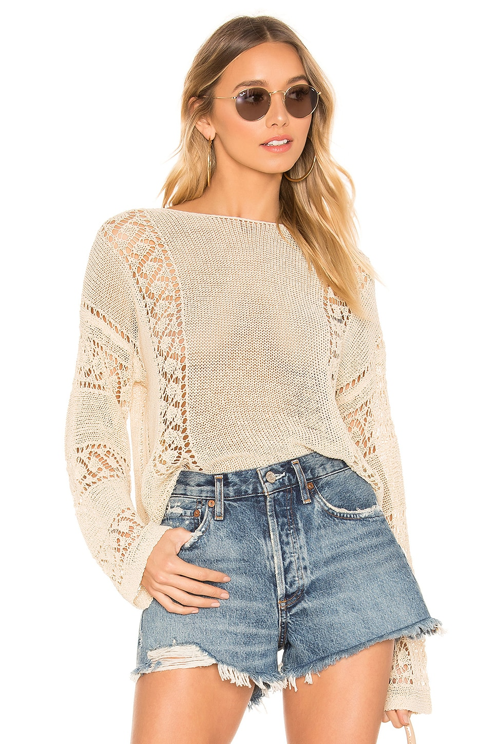 MINKPINK Anita Open Knit Sweater in Natural