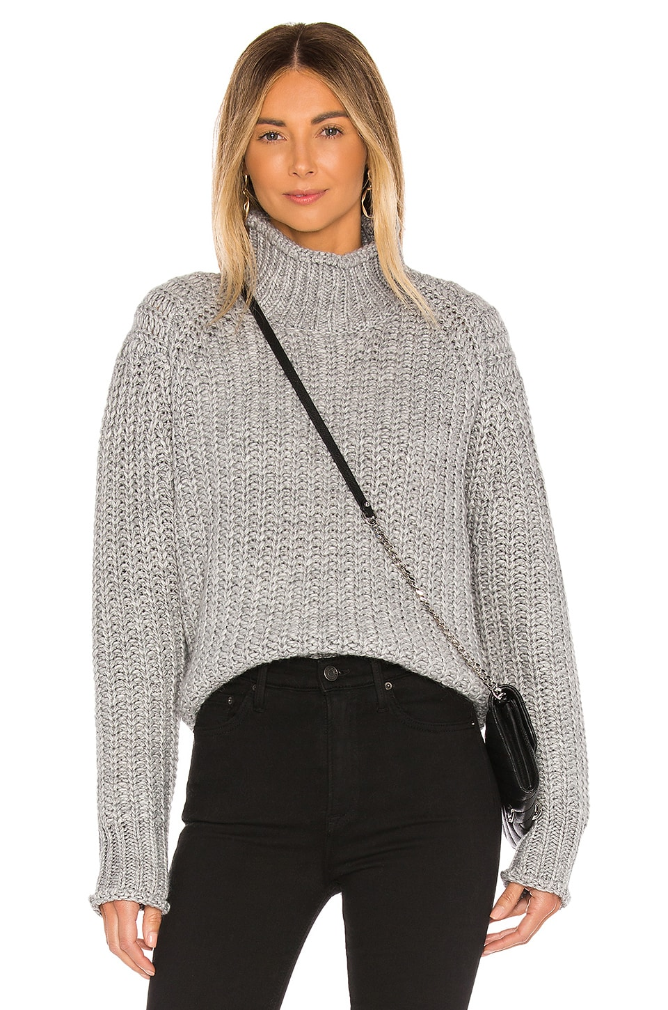 MINKPINK Stevie High Neck Knit Sweater in Grey Marle
