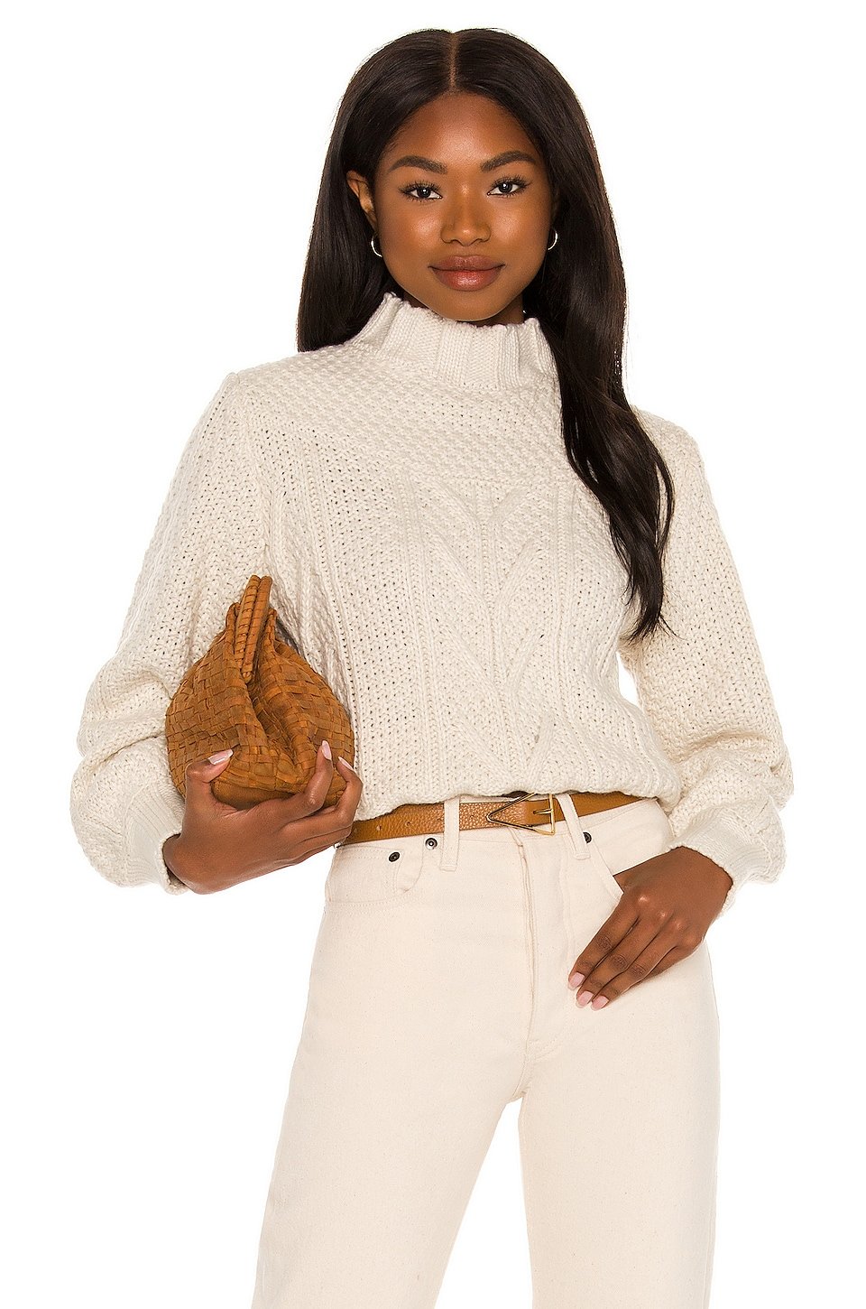 MINKPINK Haoma High Neck Knit Jumper in Ivory