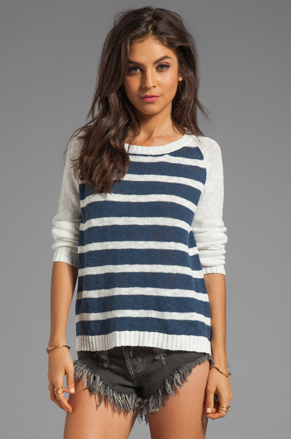 MINKPINK Cruising Raglan Jumper in White/Navy