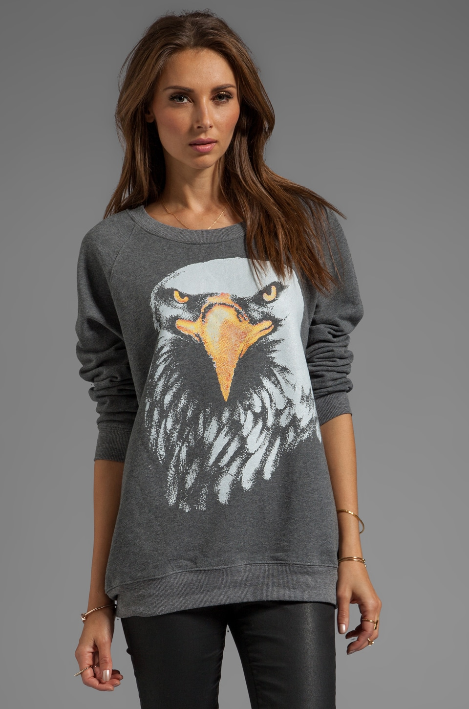 MINKPINK Like a Hawk Pullover Sweater in Charcoal