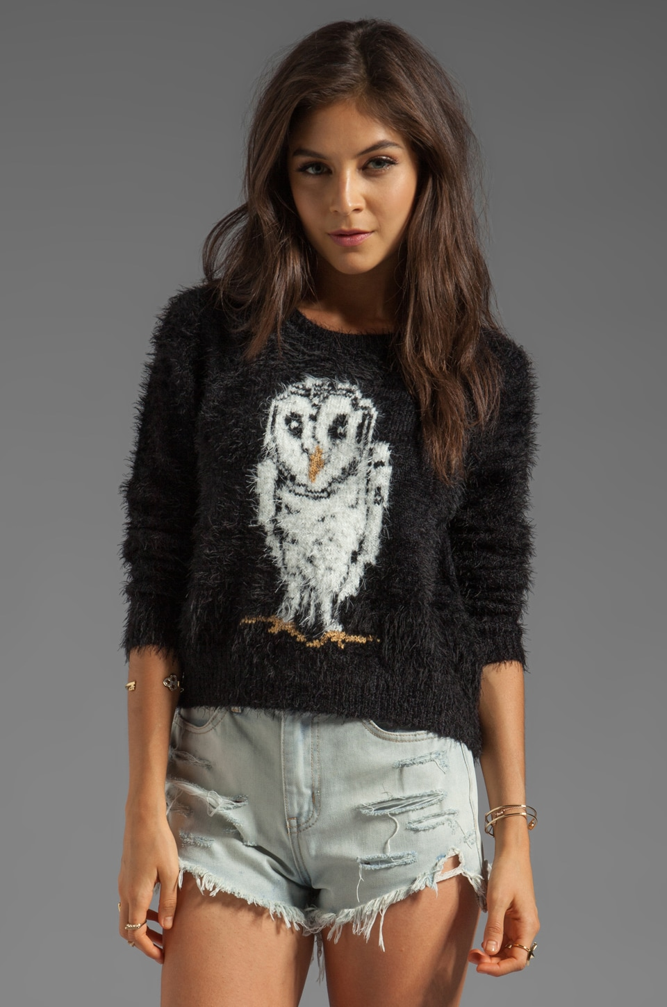 MINKPINK Mr Hooty Pullover Sweater in Multi