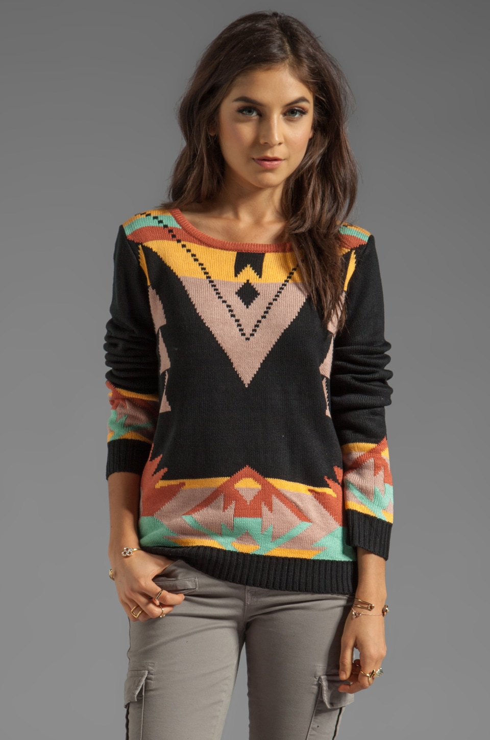 MINKPINK Three Amigos Pullover Sweater in Multi
