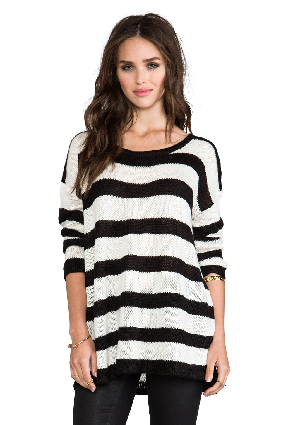 MINKPINK The London Look Pullover in Black/White