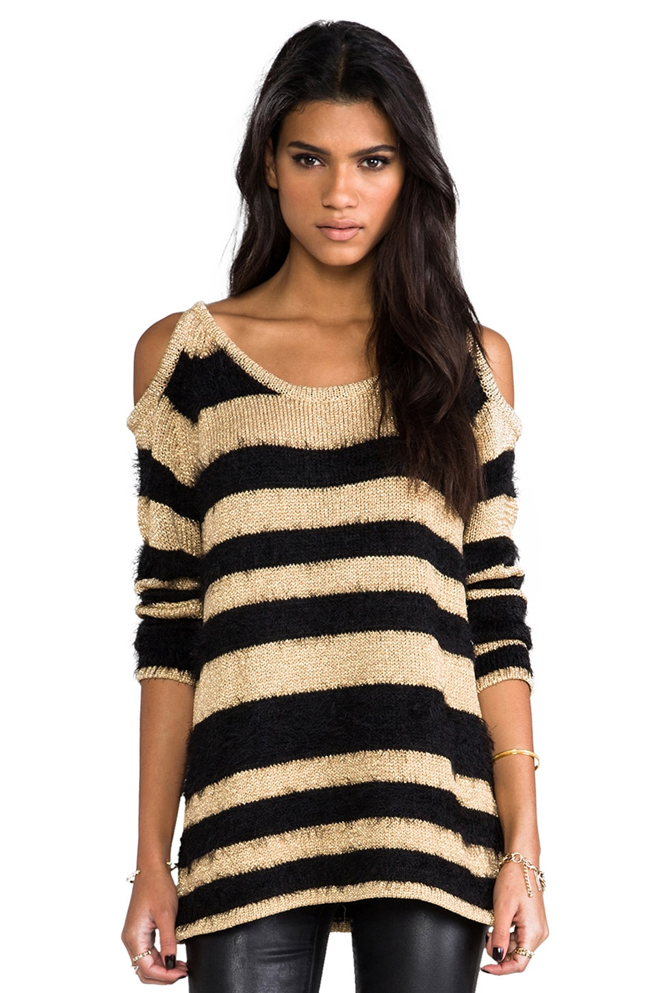 MINKPINK Golly Gosh Knitted Sweater in Black & Gold