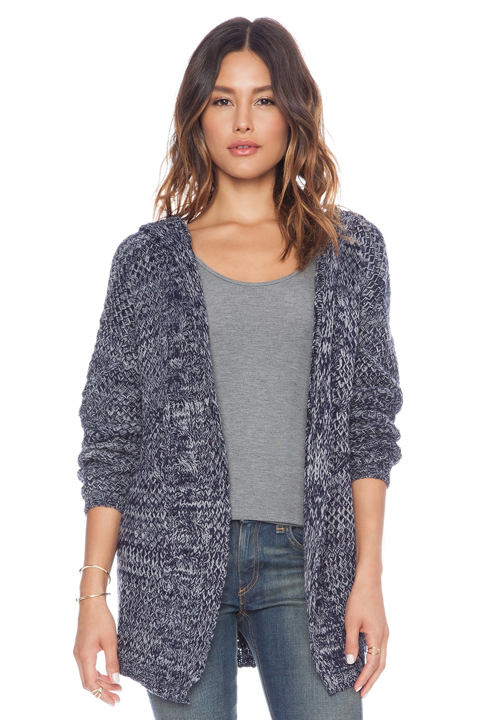 MINKPINK Direct Hit Hooded Cardigan in Navy