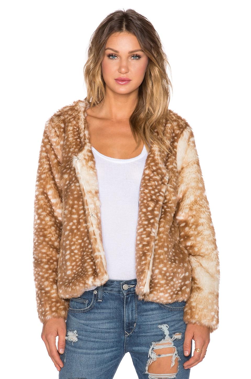 MINKPINK Oh Deer Faux Fur Coat in Multi