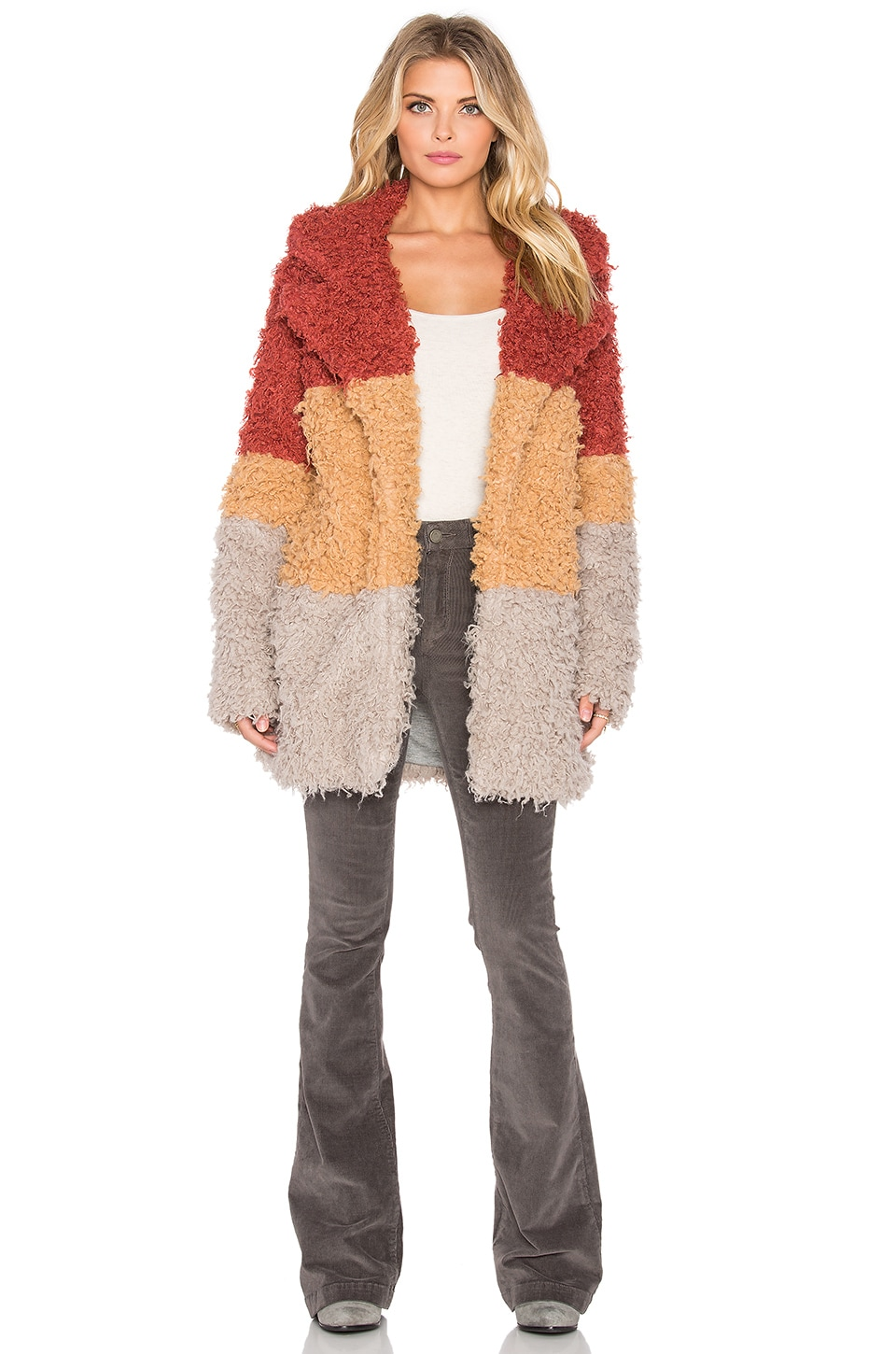 MINKPINK Free Spirit Faux Fur Coat in Multi