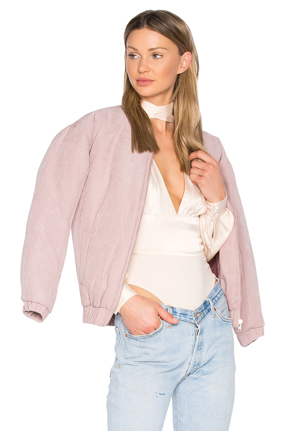 MINKPINK Puffer Bomber Jacket in Dusty Lilac