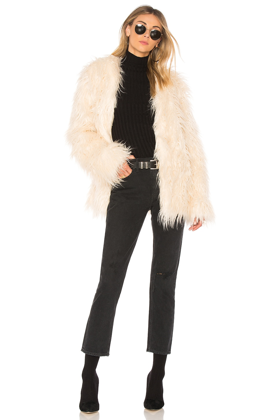 MINKPINK OTT Long Luxe Fur Jacket in Champagne