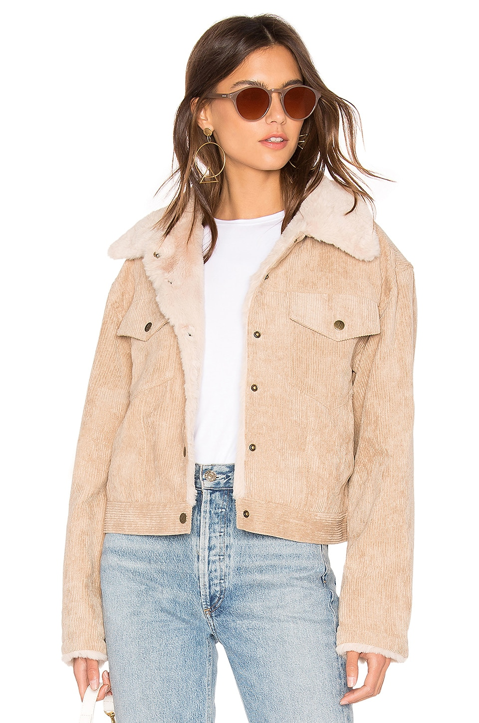 MINKPINK Bandit Cord Faux Fur Trucker Jacket in Beige