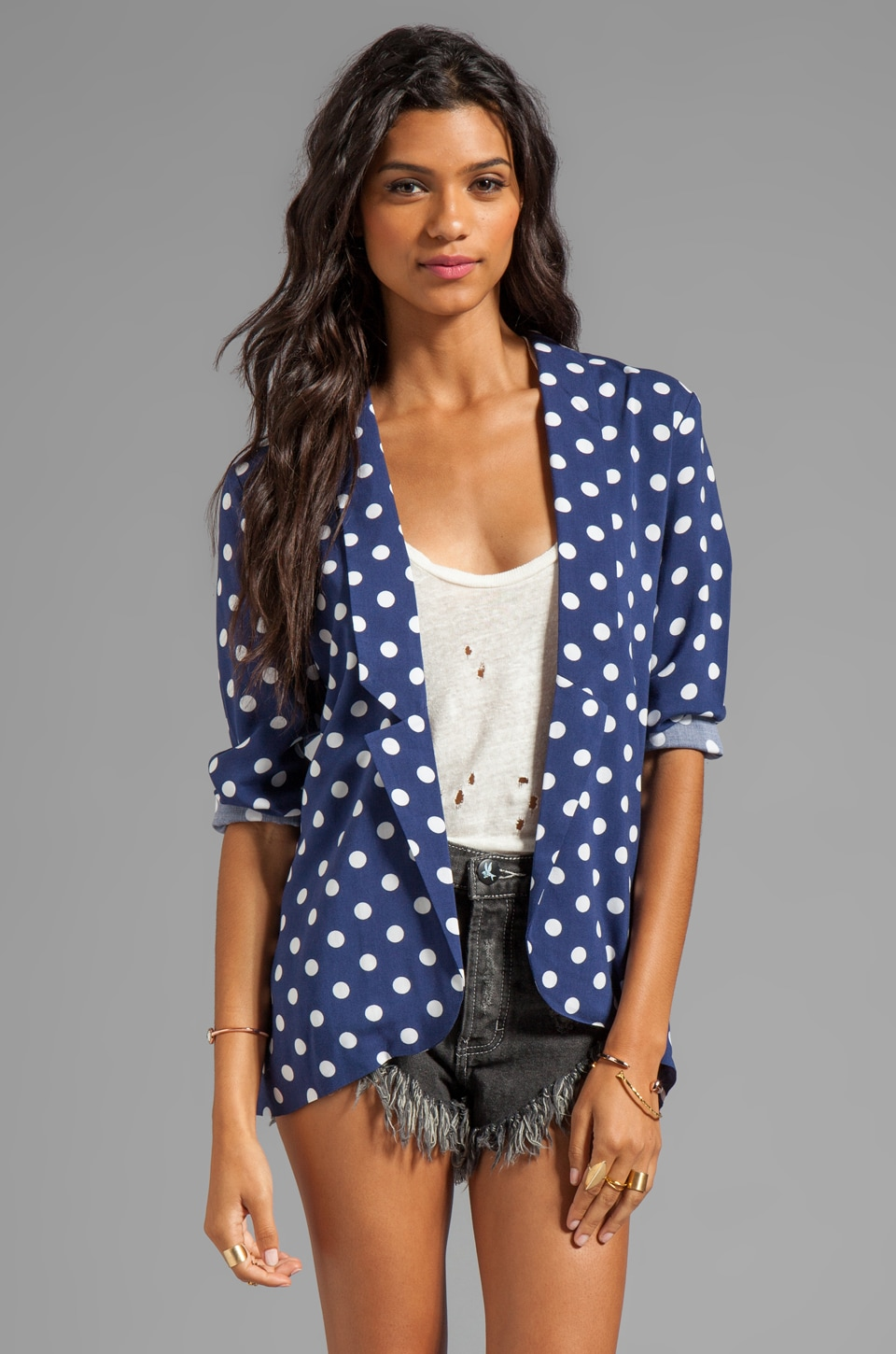 MINKPINK Forget Me Not Soft Blazer in Navy