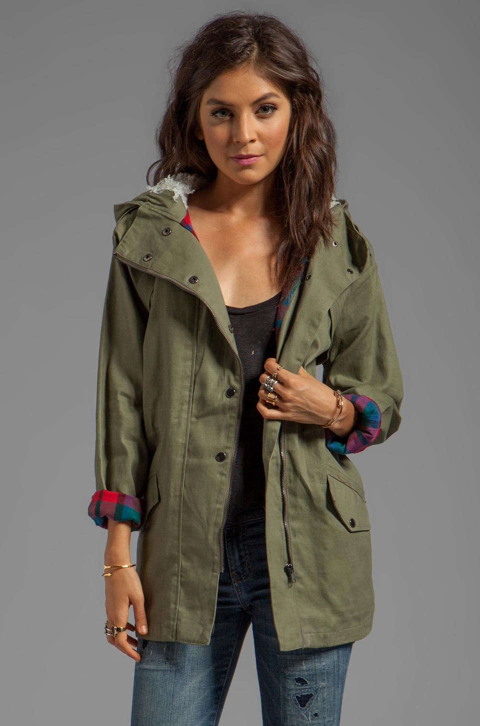 MINKPINK Dad's Army Anorak in Khaki