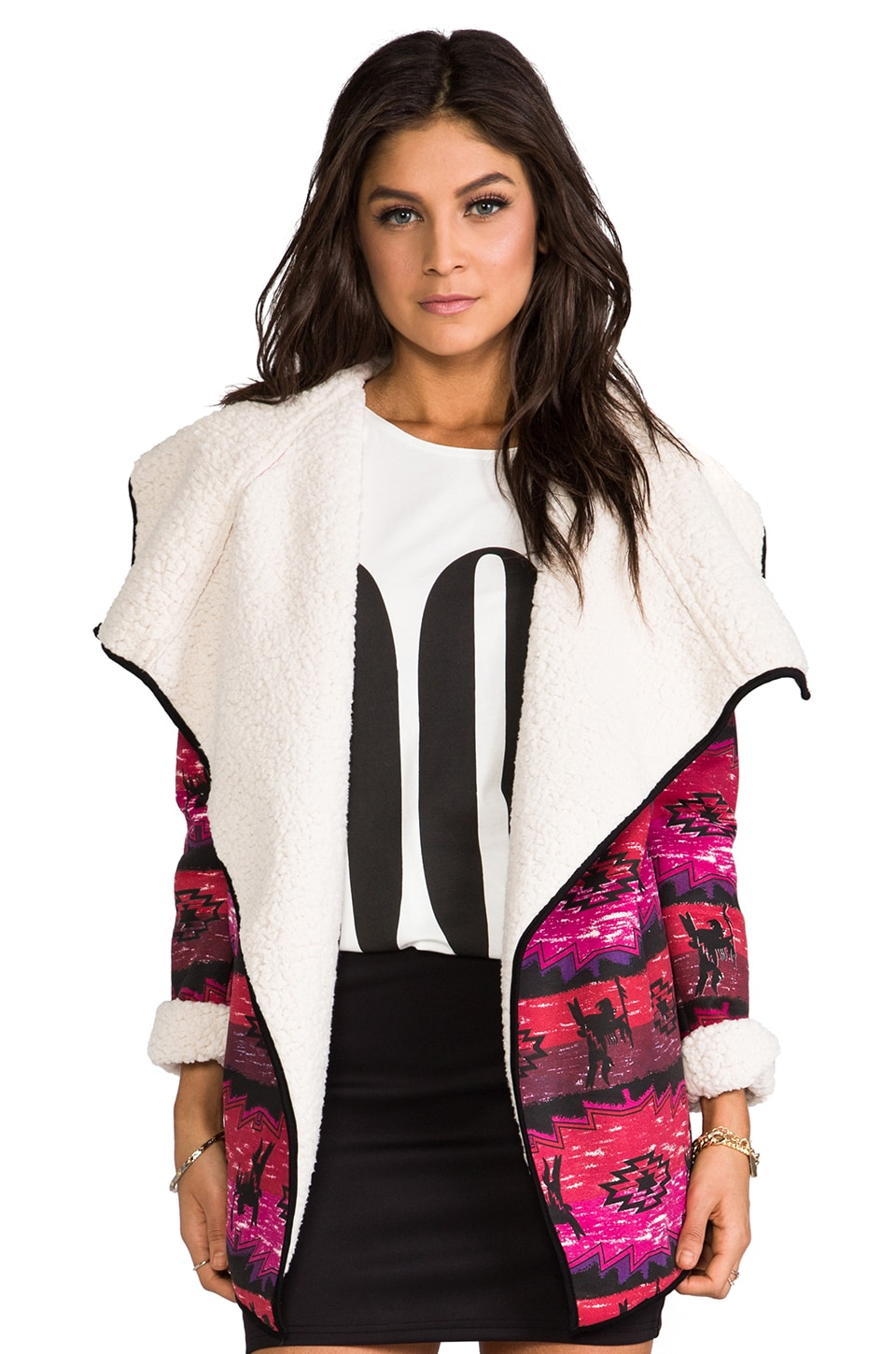 MINKPINK The Wanderer Printed Coat w/ Faux Sherpa in Multi