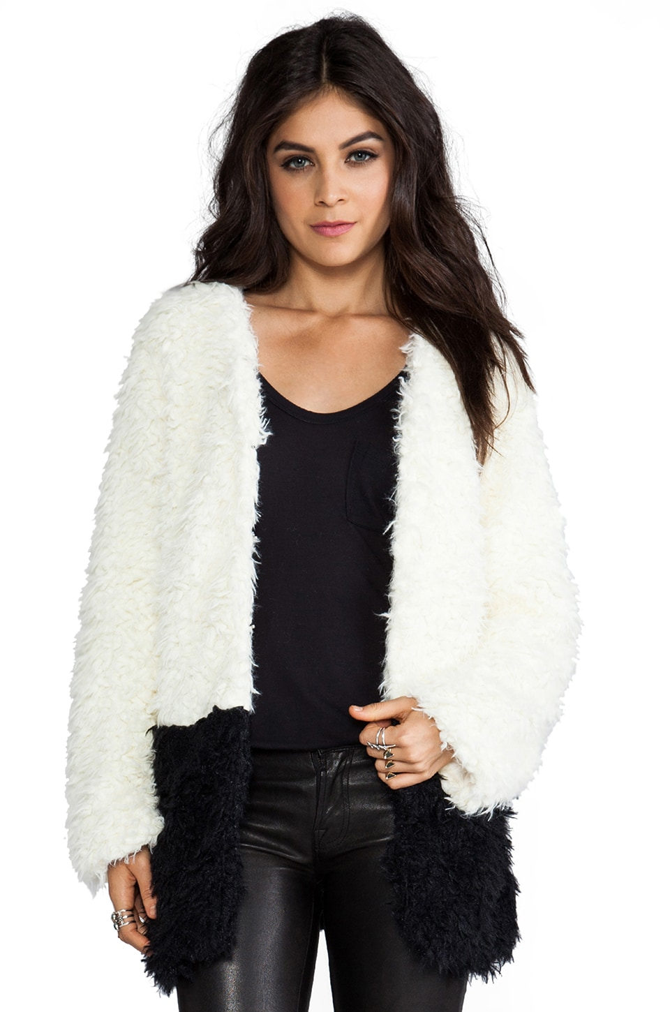 MINKPINK Farshion Faux Fur Long Coat in Cream/Black