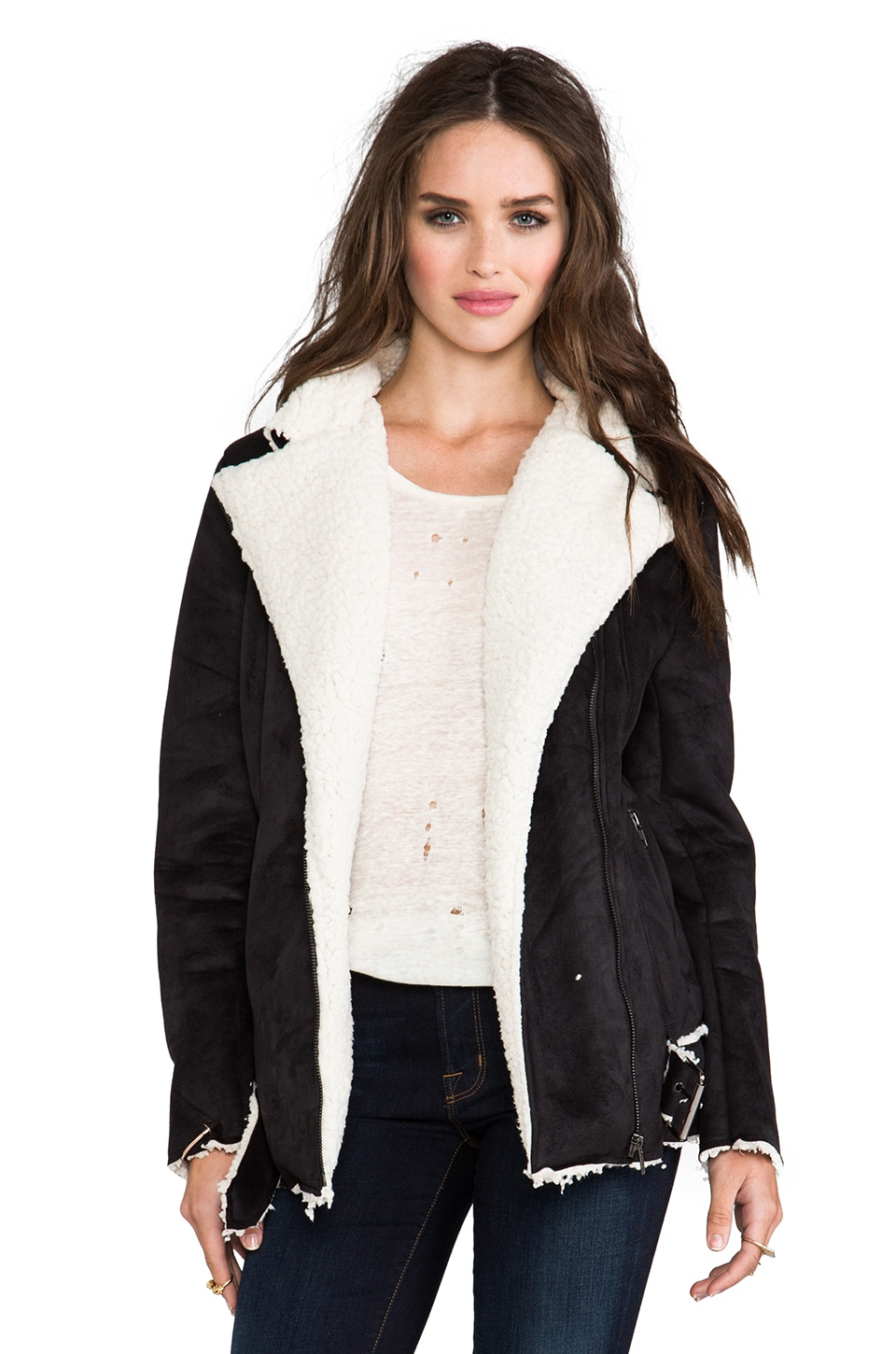 MINKPINK Always and Forever Biker Faux Shearling Jacket in Black/White