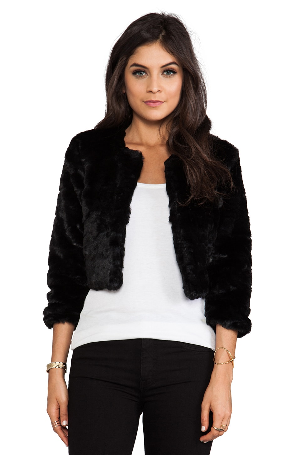 MINKPINK Oh Darling Faux Fur Jacket in Black