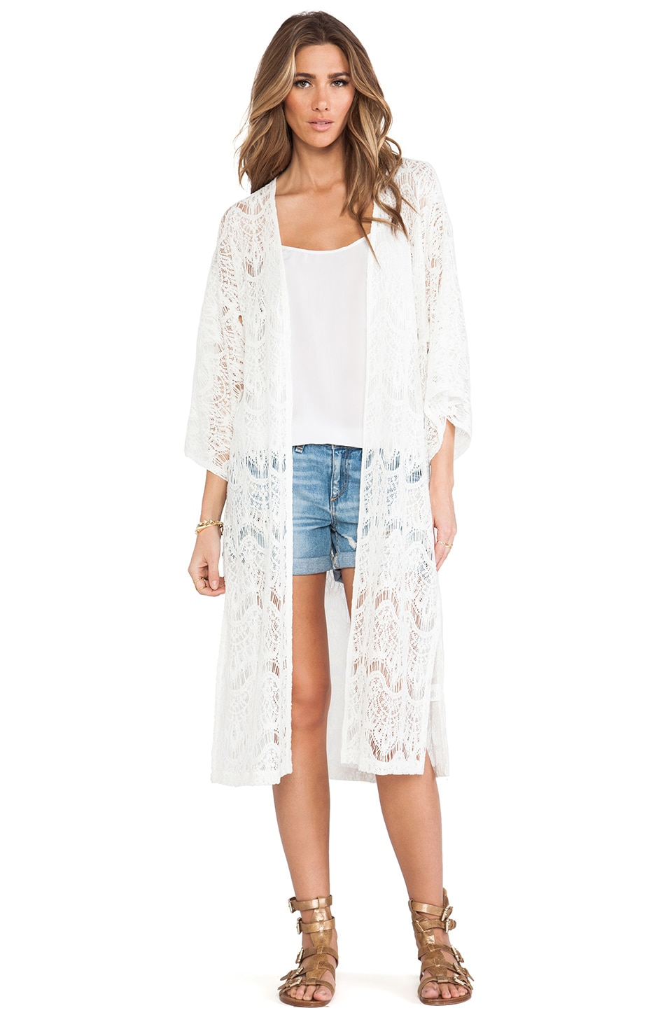 MINKPINK Dance with Me Kimono in White