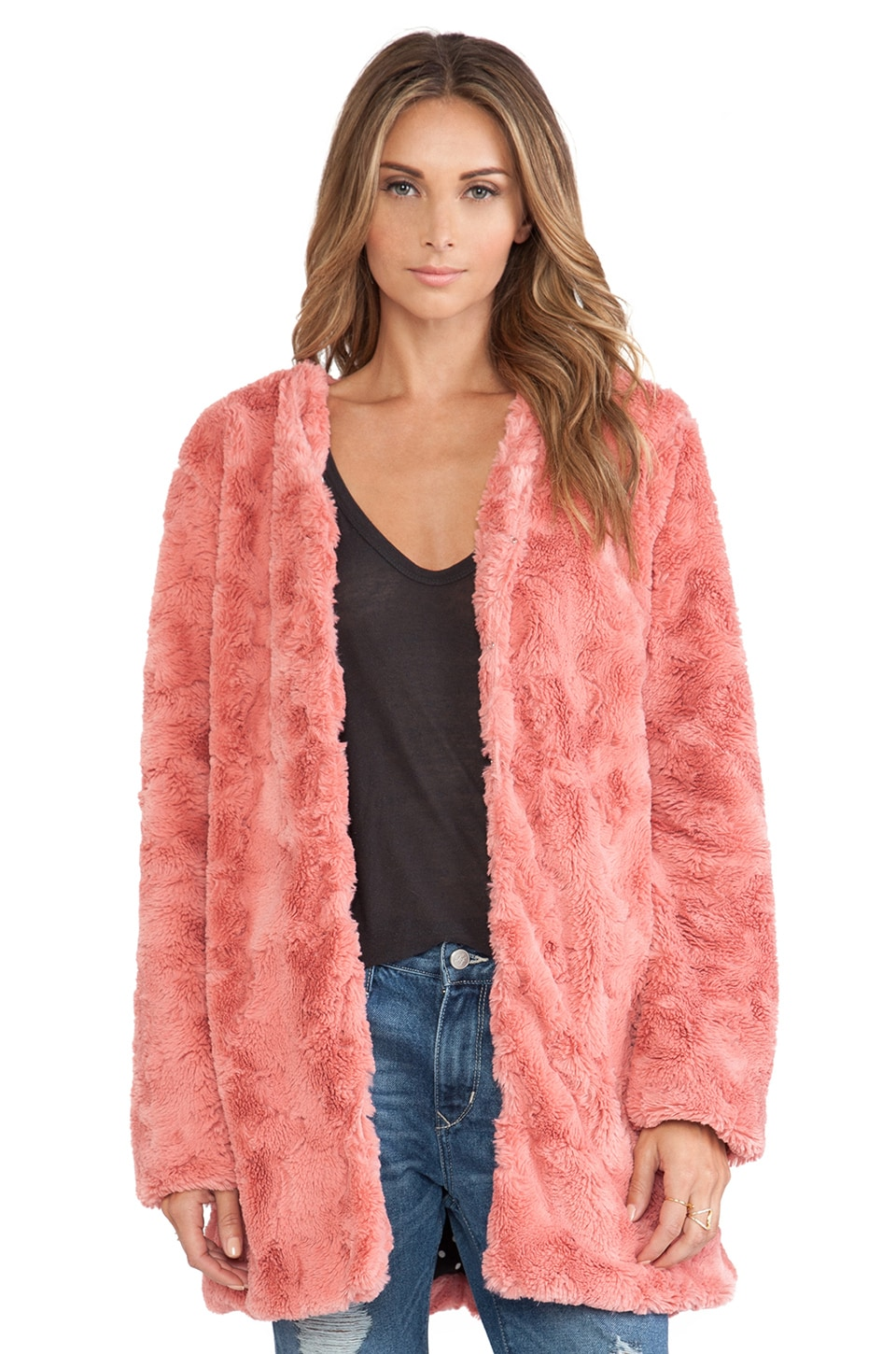 MINKPINK Powder Room Faux Fur Jacket in Blush