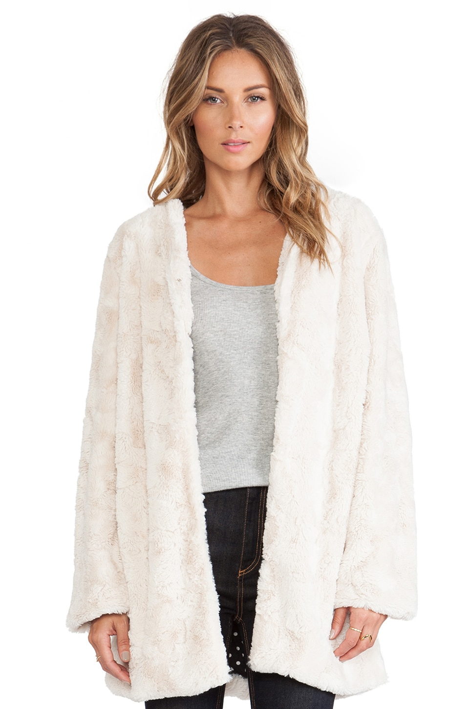 MINKPINK Powder Room Faux Fur Jacket in Natural