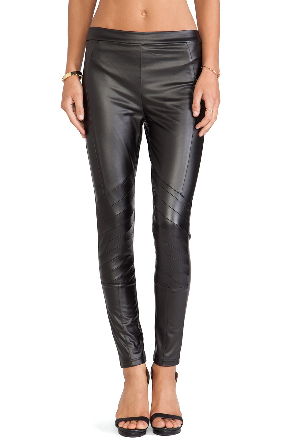 MINKPINK Easy Rider Faux Leather Leggings in Black