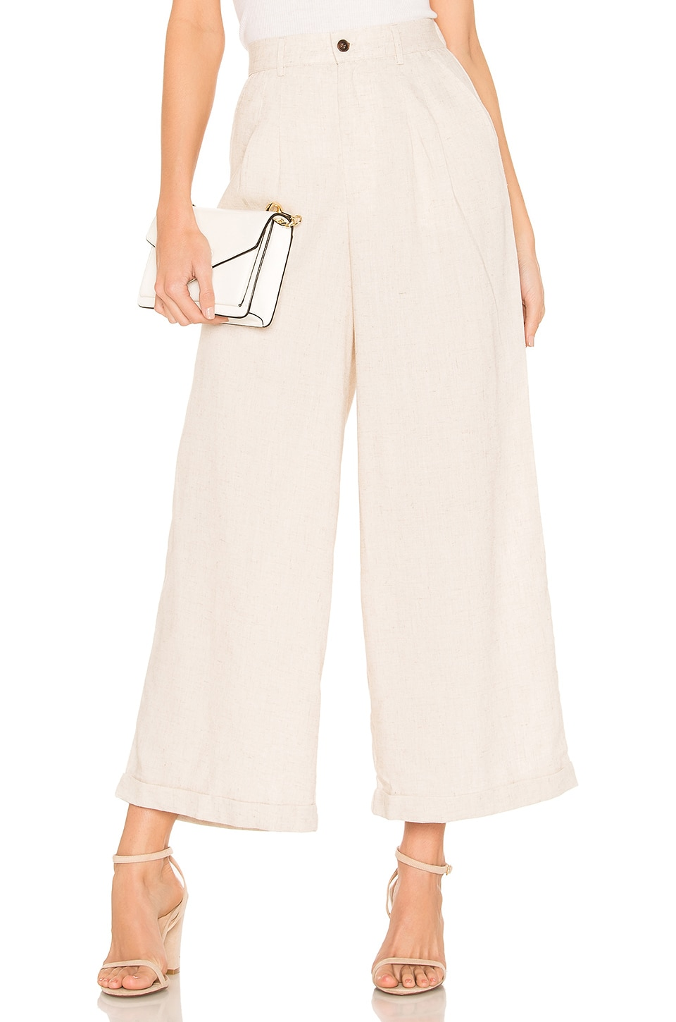 MINKPINK Utility Wide Leg Pant in Natural