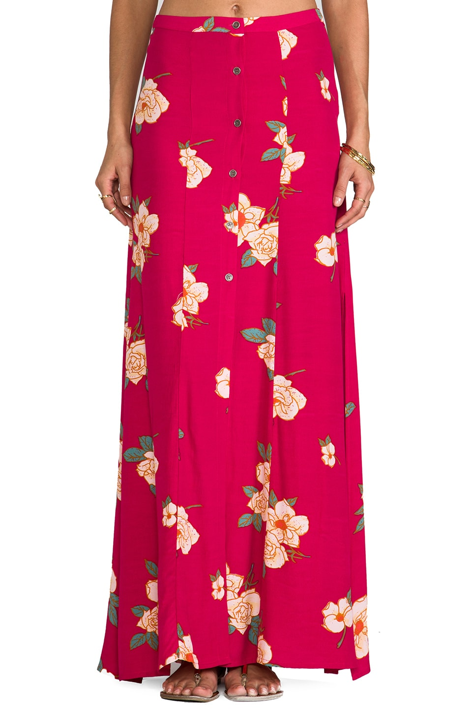 MINKPINK Flower Effect Maxi Skirt in Multi