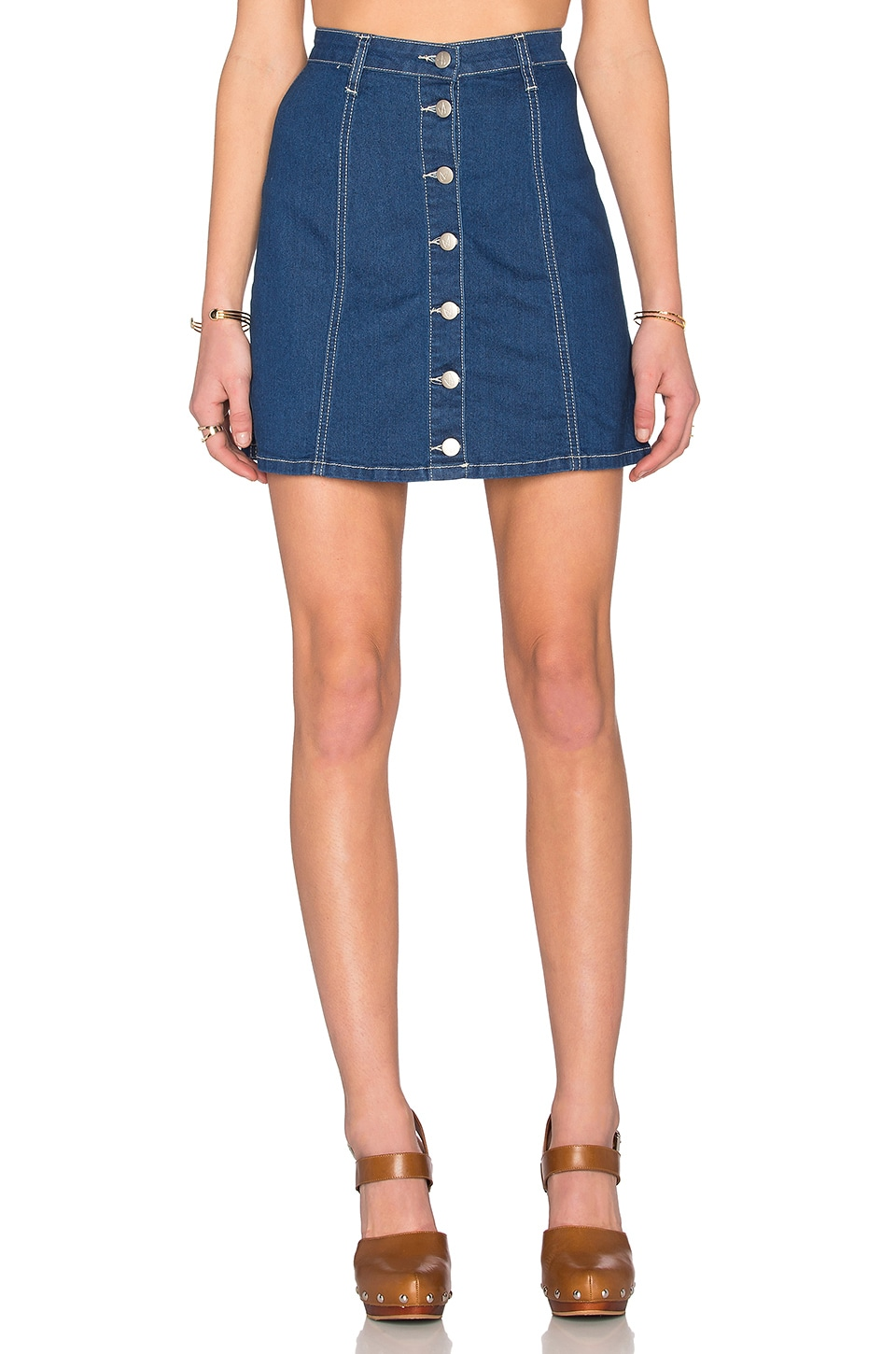 MINKPINK All I Want Button Up Skirt in Denim