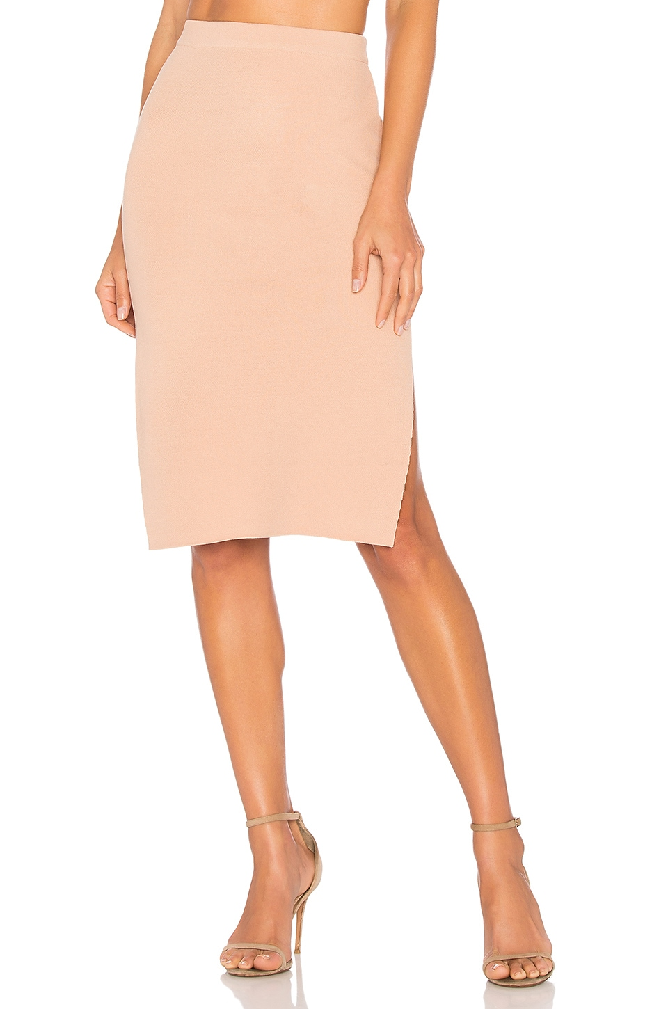 MINKPINK Knitted Pencil Skirt in Nude