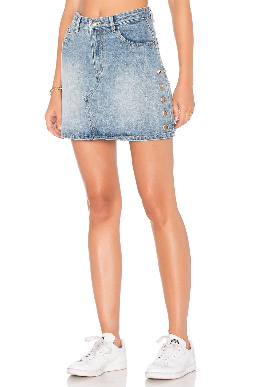 MINKPINK Youth A-Line Eyelet Mini Skirt in Vintage Blue
