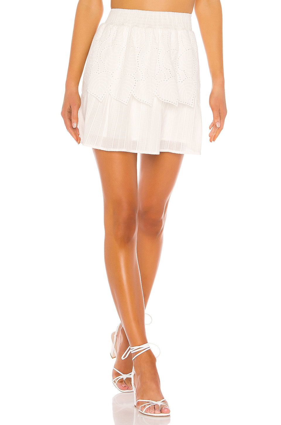 MINKPINK Nirvana Tiered Skirt in White