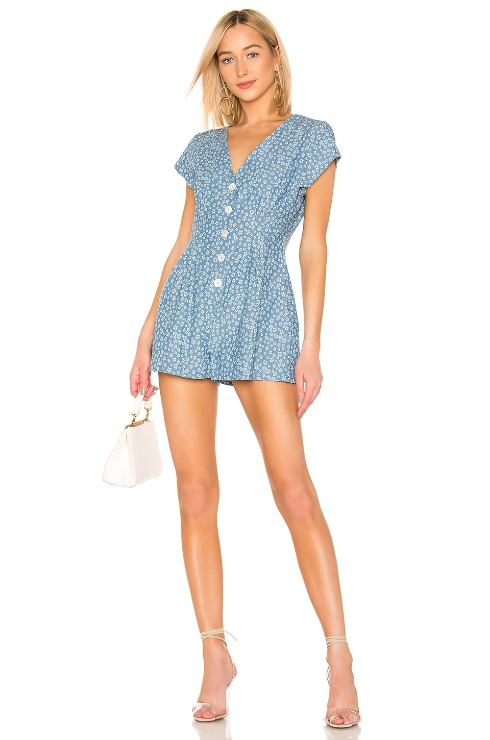 MINKPINK Lazy Daze Romper in Navy & White