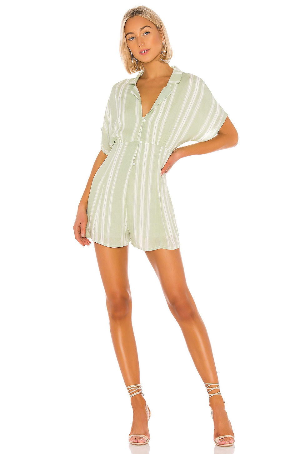 MINKPINK On The Line Shirt Romper en Mint