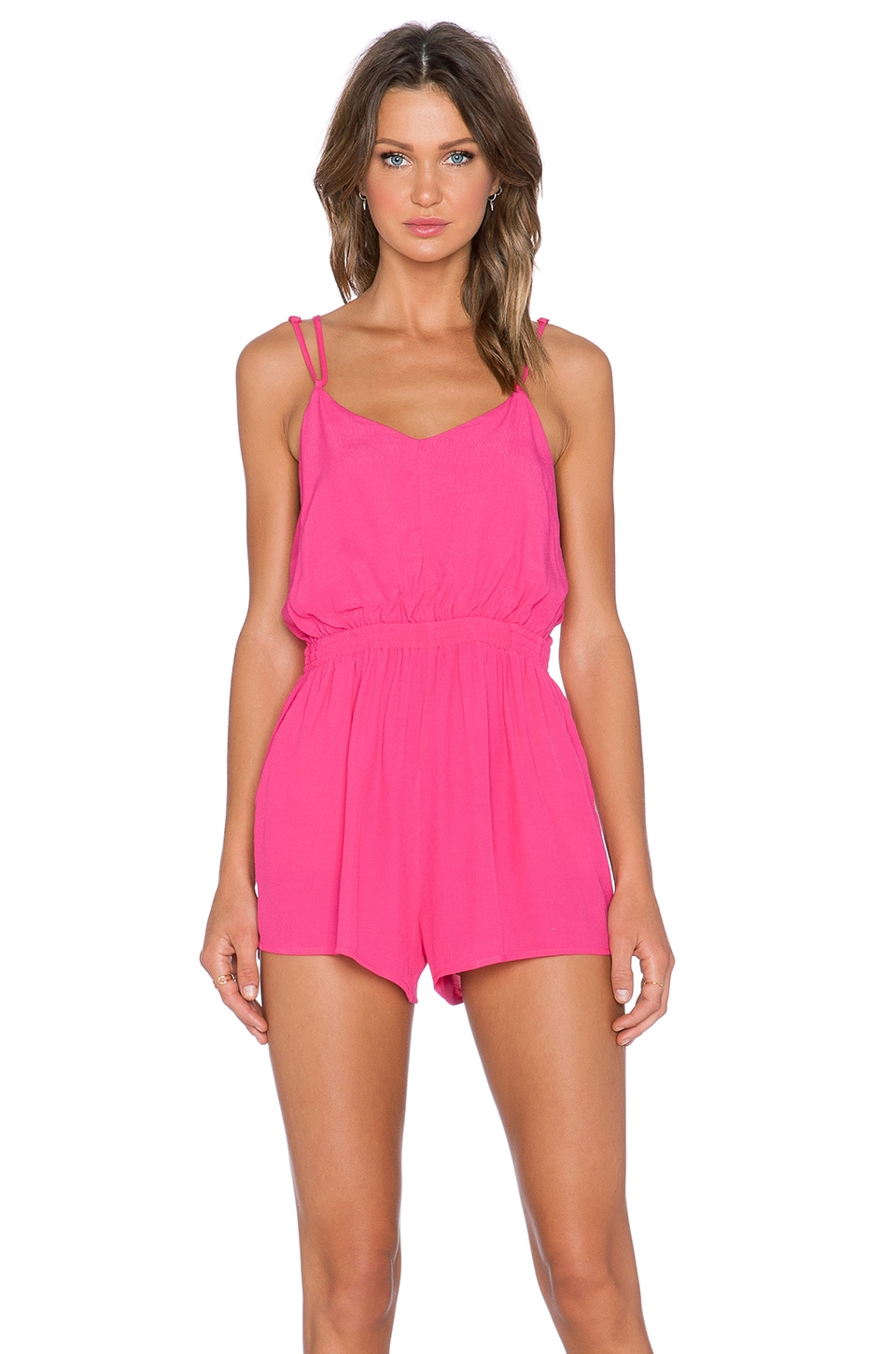 MINKPINK Summer Vacay Crossback Playsuit in Hot Pink