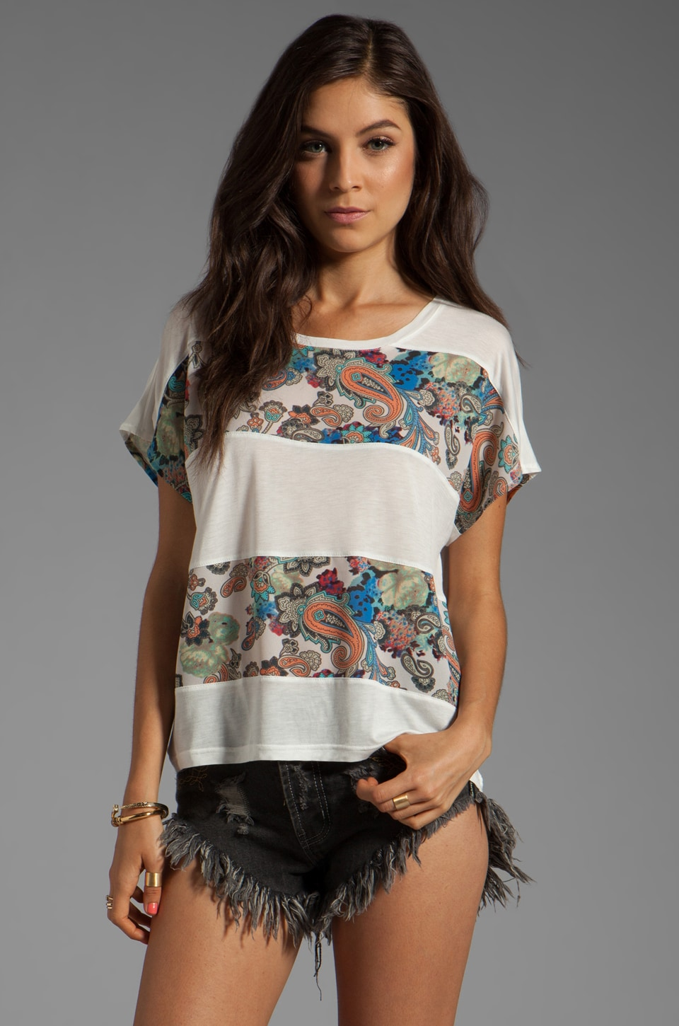 MINKPINK The Lost Ones Panelled Tee in Multi