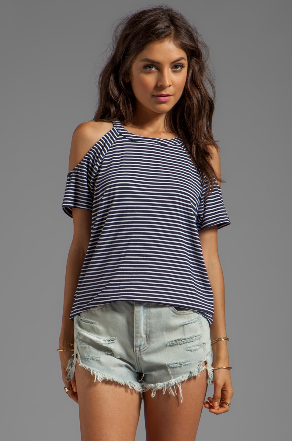 MINKPINK Hello Sailor Tee in Navy/Cream