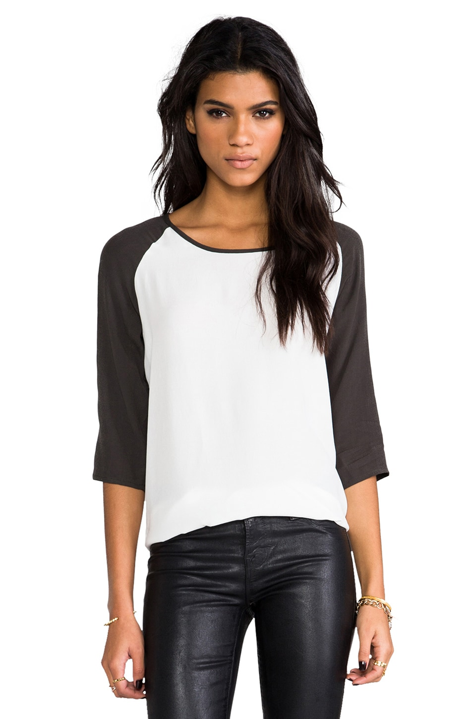 MINKPINK Back To Basics Top in White & Charcoal