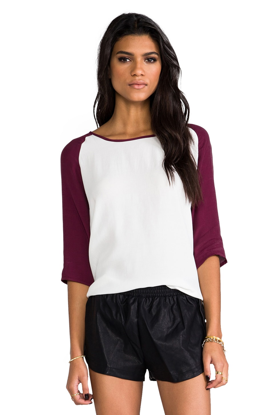 MINKPINK Back To Basics Top in White & Wine Marle