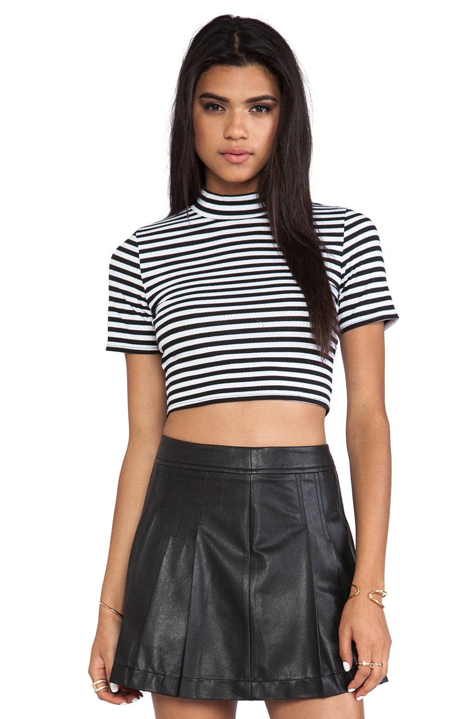 MINKPINK Cross Roads Skivvy Top in White & Black