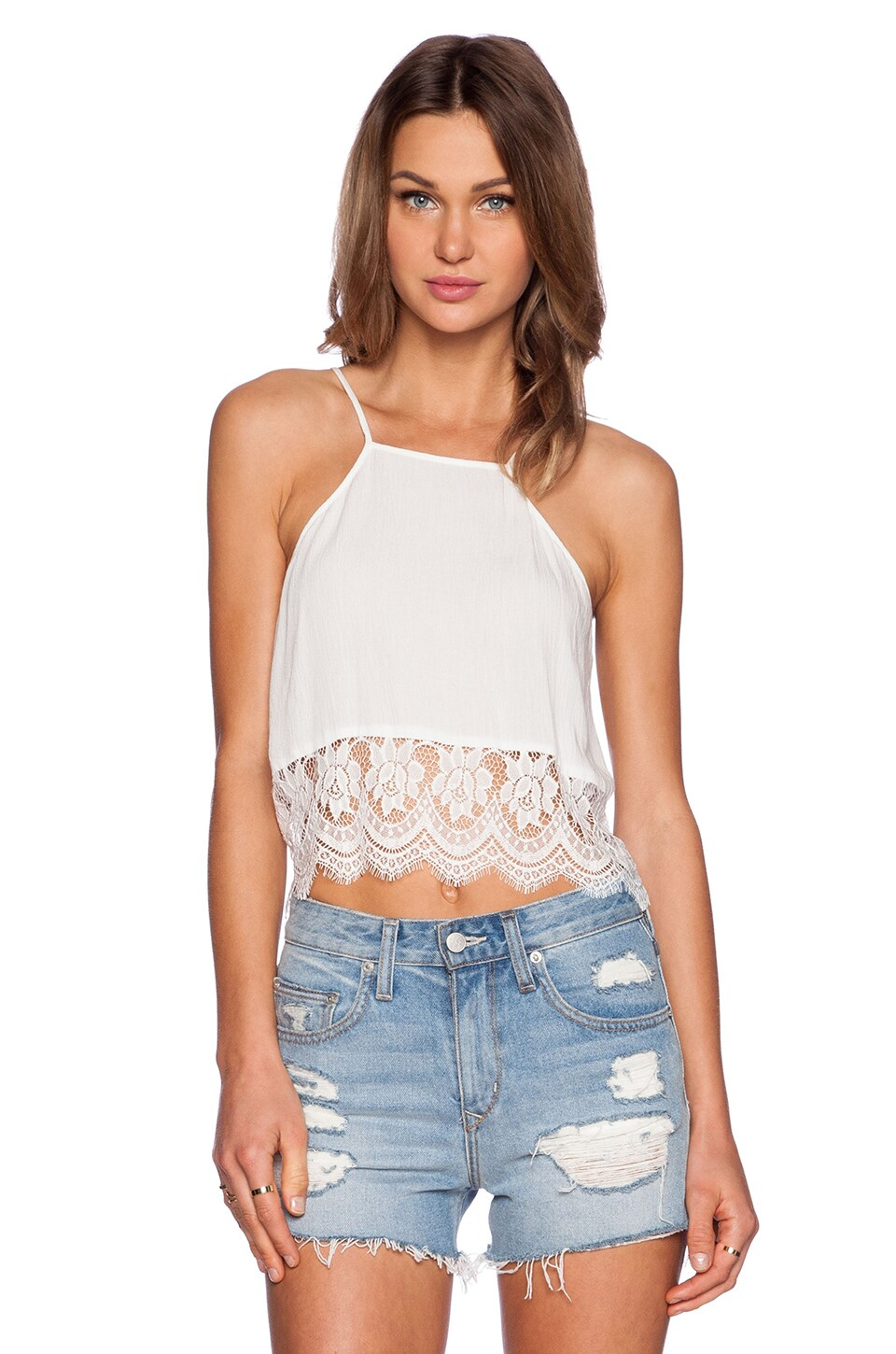 MINKPINK Beachside Breeze Halter Crop Top in White