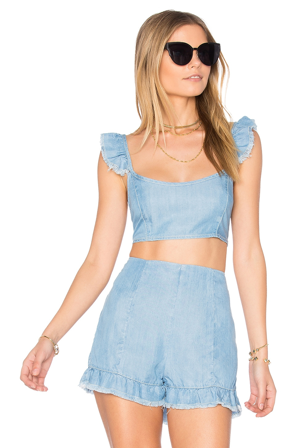 MINKPINK Bella Denim Bralet in Light Blue