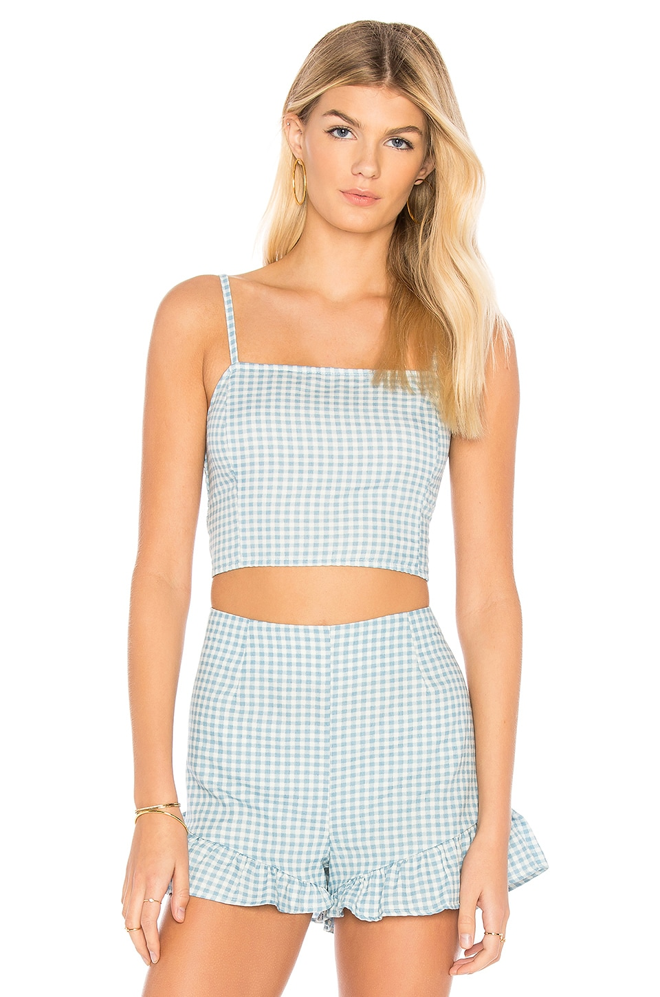 MINKPINK Toto Gingham Top in Chambray & White