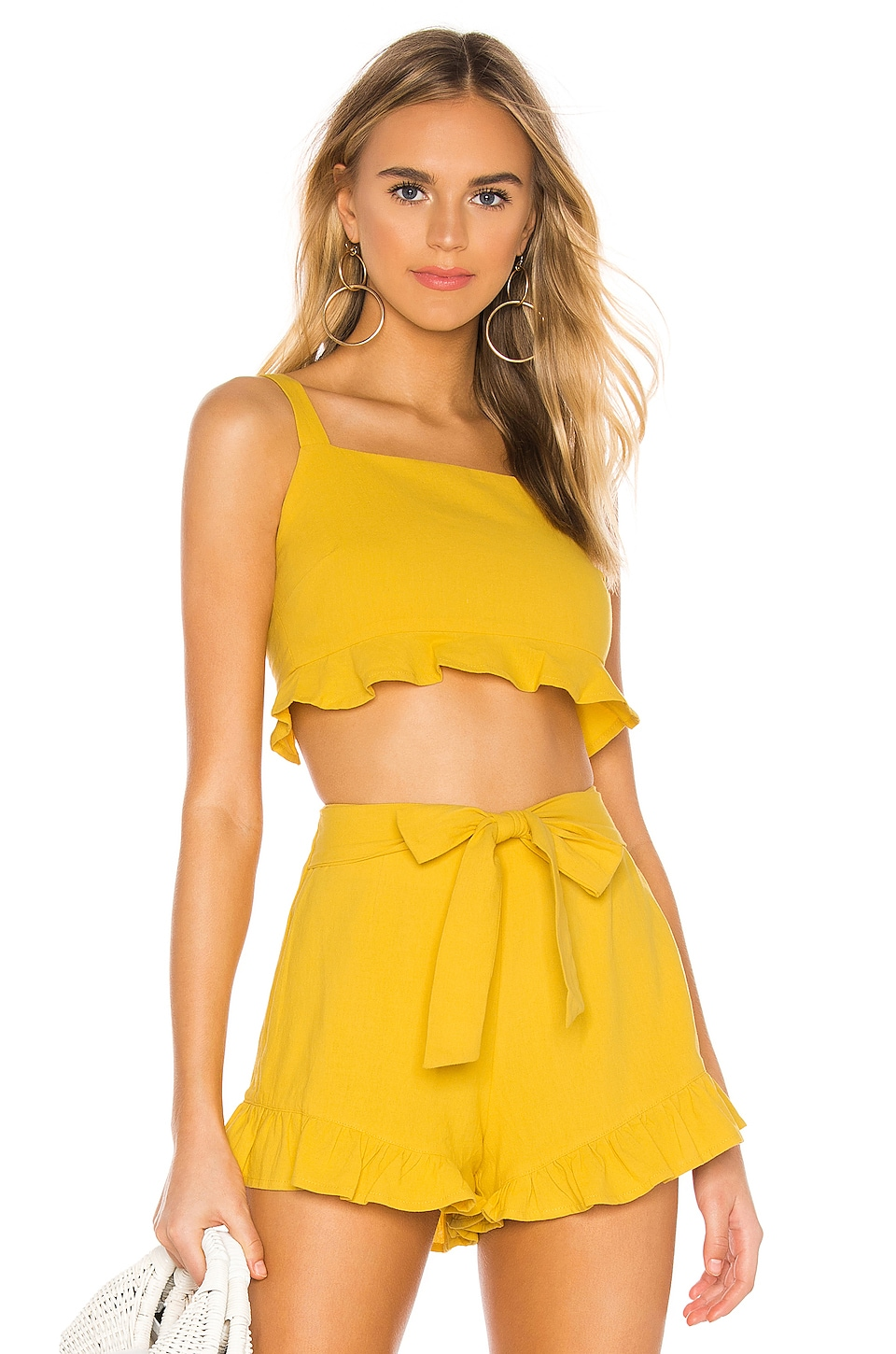MINKPINK Camille Crop Frill Top in Yellow