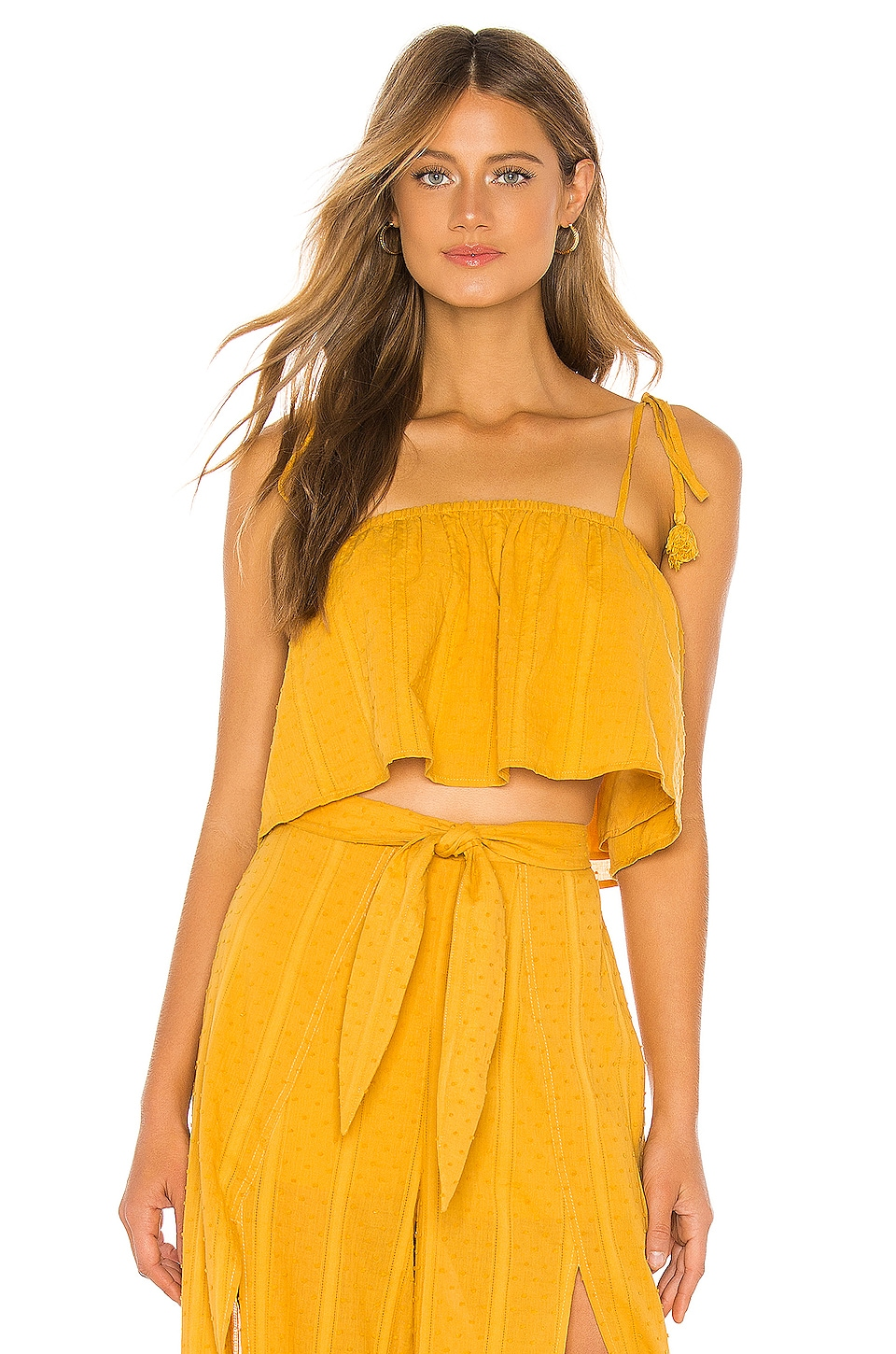MINKPINK Shady Crop Cami in Mustard