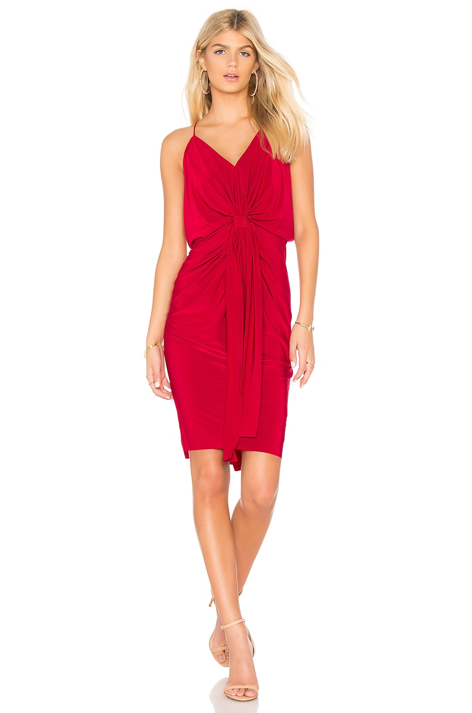 MISA Los Angeles Domino Tie Front Midi Dress in Red