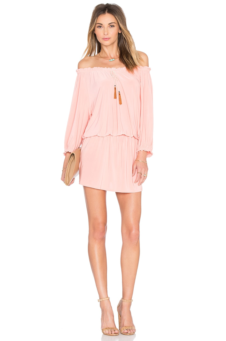 MISA Los Angeles Poppy Off the Shoulder Dress in Blush