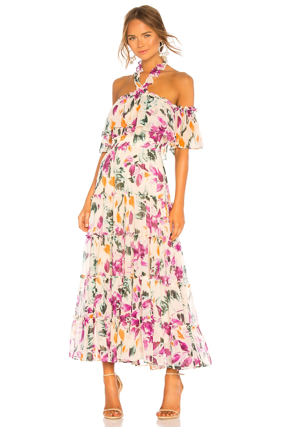 MISA Los Angeles Mila Dress in Yellow Floral