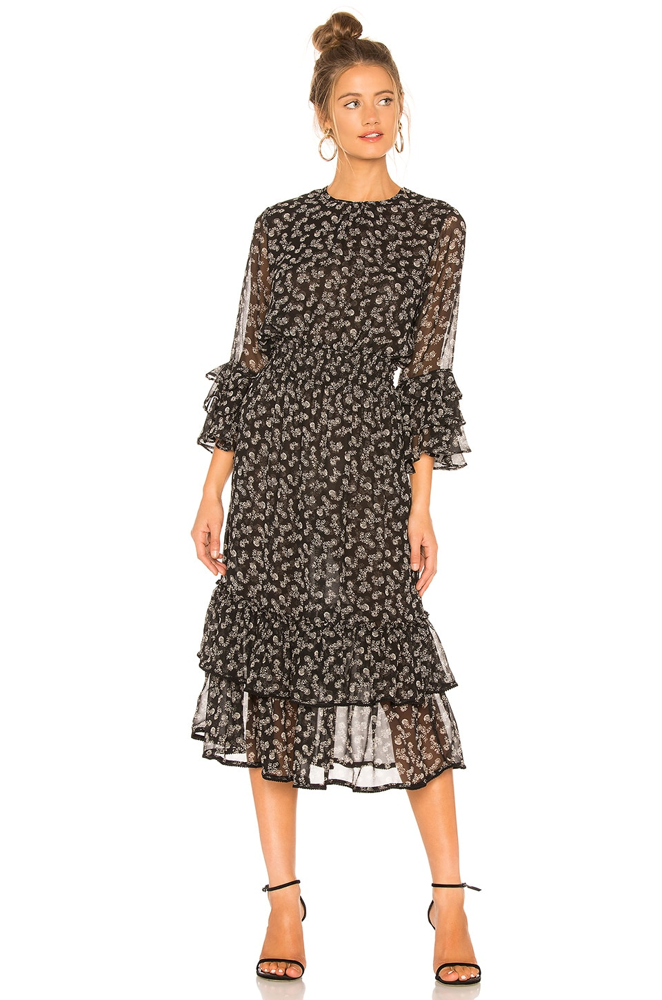 Misa MISA LOS ANGELES GORDANA DRESS IN BLACK FLORAL