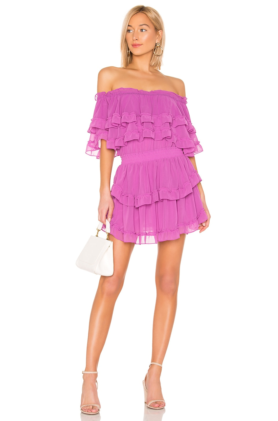 e17d6efcc2a1 Misa Isella Off-Shoulder Tiered Ruffle Mini Dress In Orchid | ModeSens
