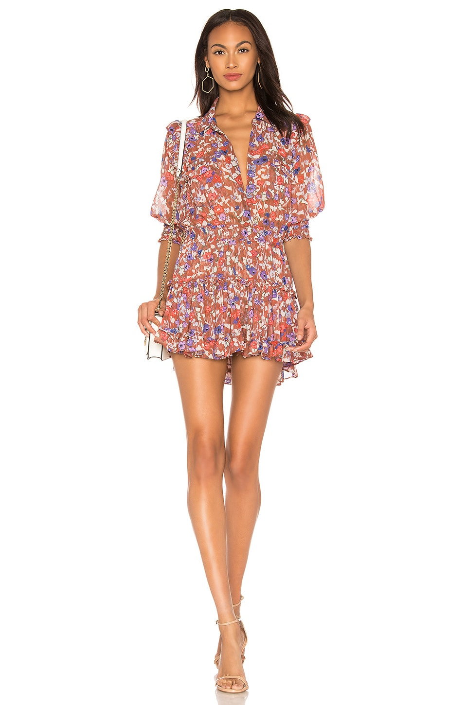 MISA Los Angeles X REVOLVE Lillian Dress in Brown Floral Print